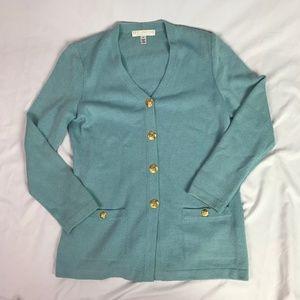 St. John Basics | Size 4. Light Blue Cardigan